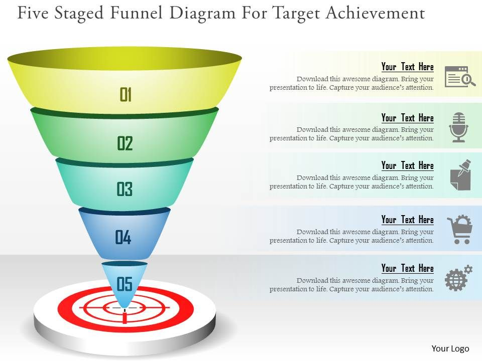 Five staged funnel diagram for target achievement powerpoint fivestagedfunneldiagramfortargetachievementpowerpointtemplatesslide01 ccuart