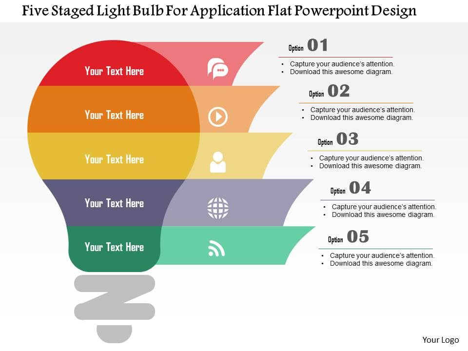 Five Staged Light Bulb For Application Flat Powerpoint Design Powerpoint Templates Download Ppt Background Template Graphics Presentation