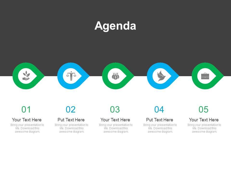 five_staged_linear_business_agenda_diagram_powerpoint_slides_Slide01