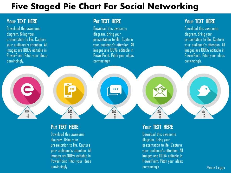 Five Staged Pie Chart For Social Networking Flat