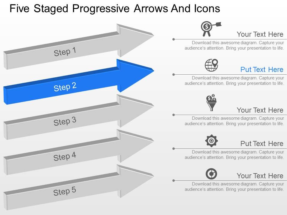 five staged progressive arrows and icons powerpoint template slide, Presentation templates