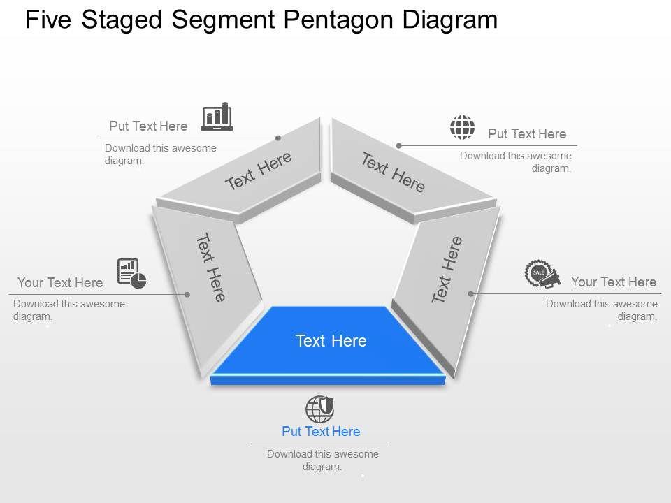 five staged segment pentagon diagram powerpoint template slide slide03