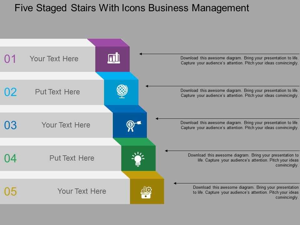 five_staged_stairs_with_icons_business_management_flat_powerpoint_design_Slide01
