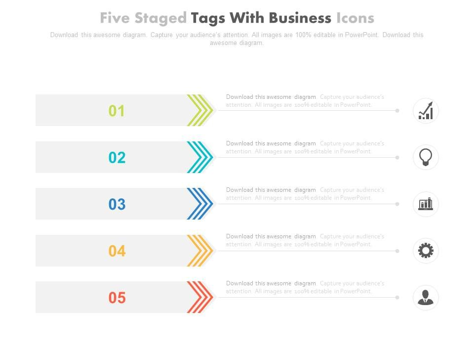 five_staged_tags_with_business_icons_for_business_process_powerpoint_slides_Slide01