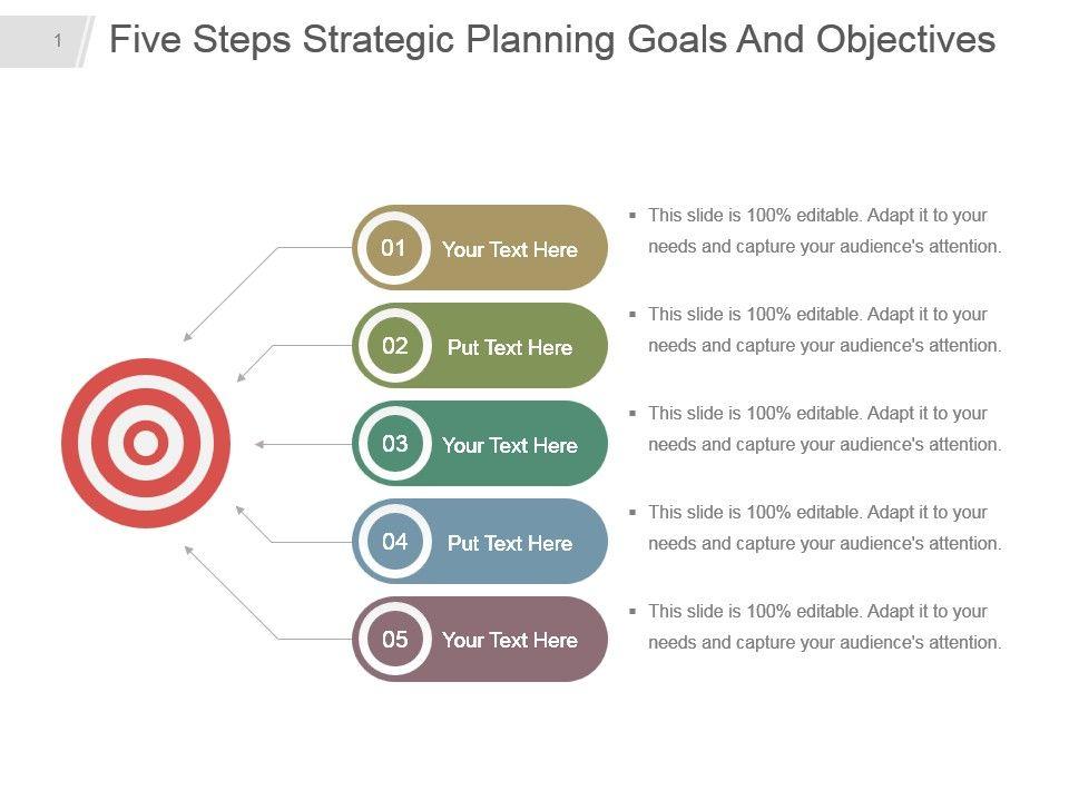 five_steps_strategic_planning_goals_and_objectives_powerpoint_design_Slide01