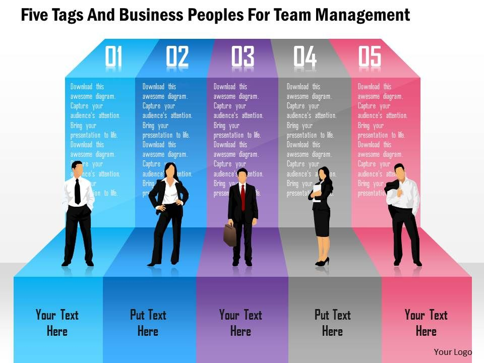 five tags and business peoples for team management powerpoint template powerpoint slide. Black Bedroom Furniture Sets. Home Design Ideas