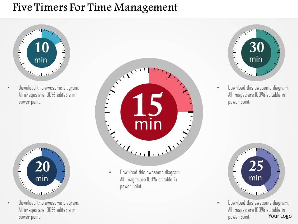 five_timers_for_time_management_flat_powerpoint_design_Slide01