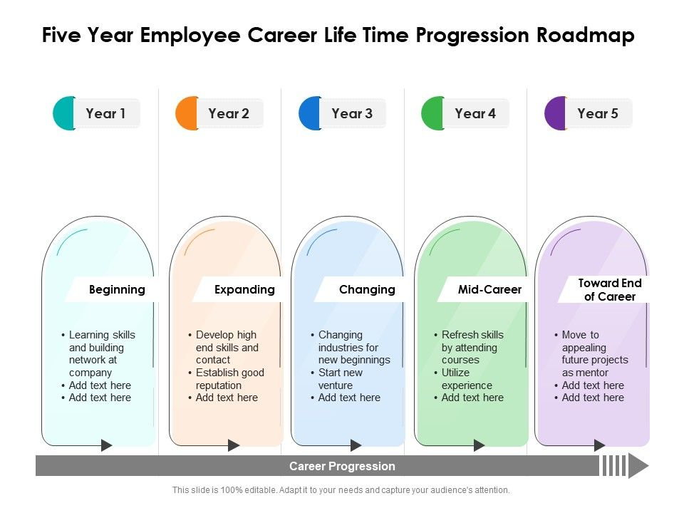 Five Year Employee Career Life Time Progression Roadmap