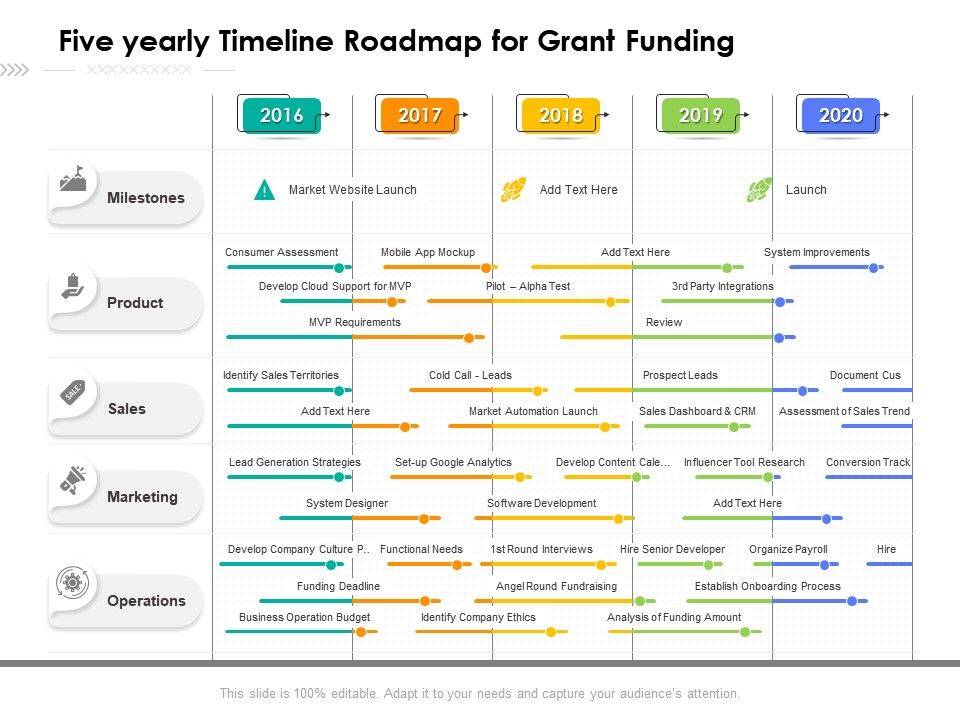 Five Yearly Timeline Roadmap For Grant Funding