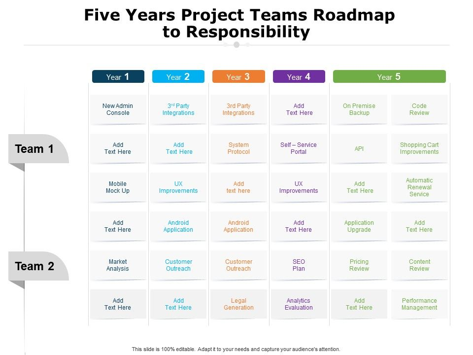 Five Years Project Teams Roadmap To Responsibility