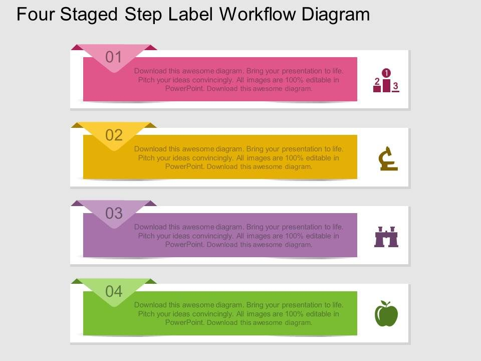fj_four_staged_step_label_workflow_diagram_flat_powerpoint_design_Slide01