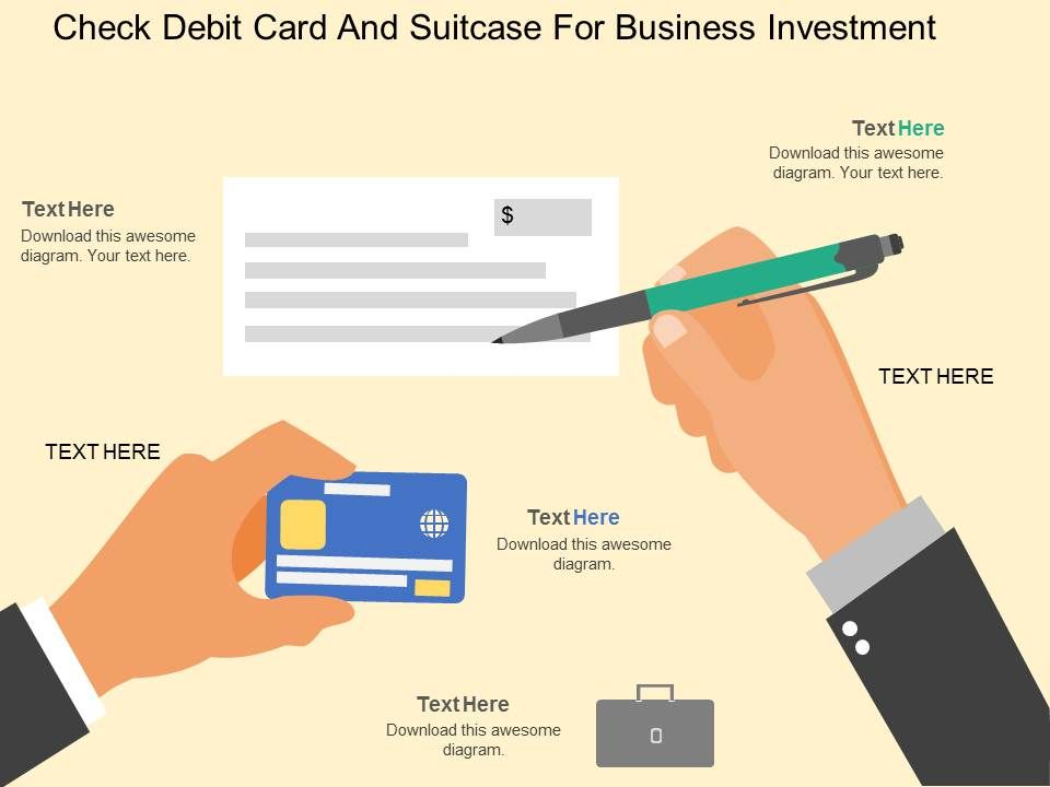 fk_check_debit_card_and_suitcase_for_business_investment_flat_powerpoint_design_Slide01