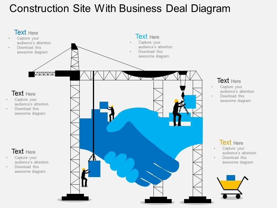 Fl Construction Site With Business Deal Diagram Flat