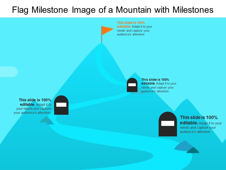 Flag Milestone Image Of A Mountain With Milestones Powerpoint Templates Download Ppt Background Template Graphics Presentation