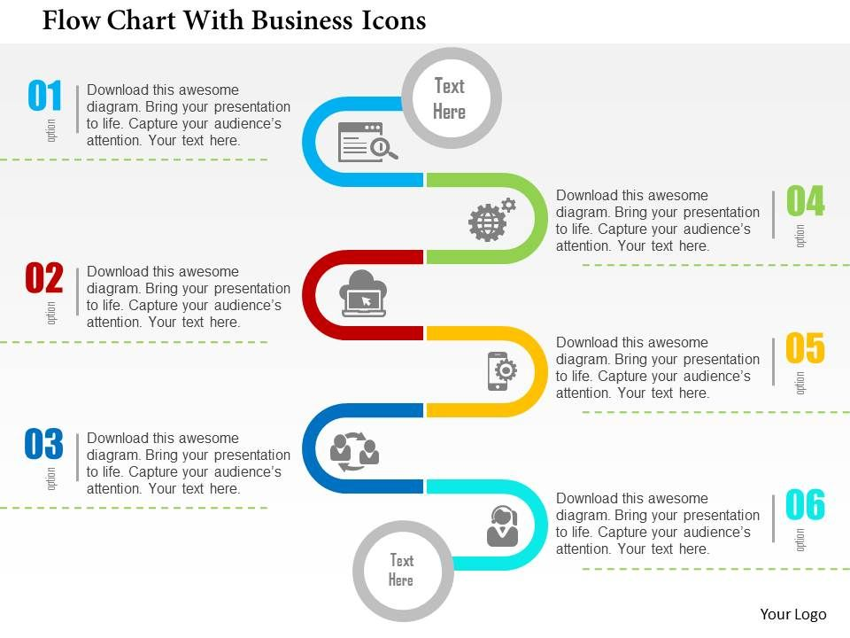 Flow Chart With Business Icons Flat Point Design Slide01 Slide02