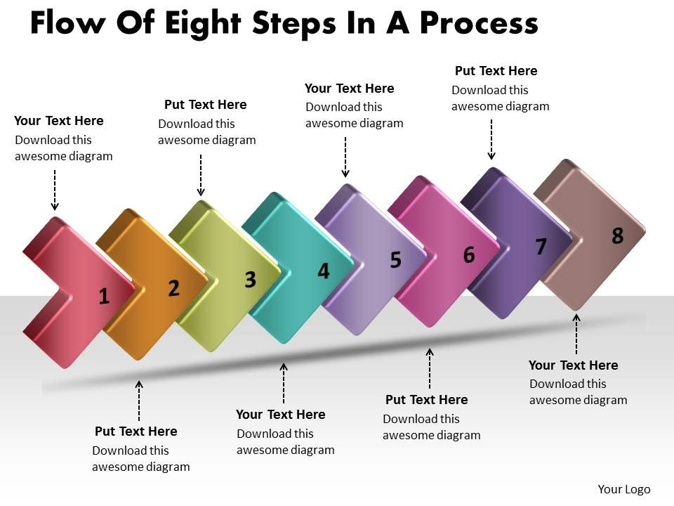 Flow Of Eight Stages In A Process Sample Flowchart Visio Powerpoint Templates Slide01