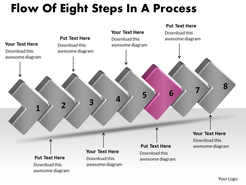 Flow Of Eight Stages In A Process Sample Flowchart Visio Powerpoint ...