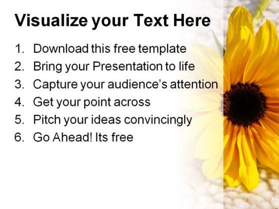 Sunflower on wool free powerpoint templates ppt themes presentation backgrounds  Presentation Themes and Graphics Slide03