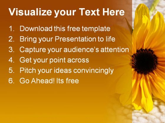 Sunflower on wool free powerpoint templates ppt themes presentation backgrounds  Presentation Themes and Graphics Slide02