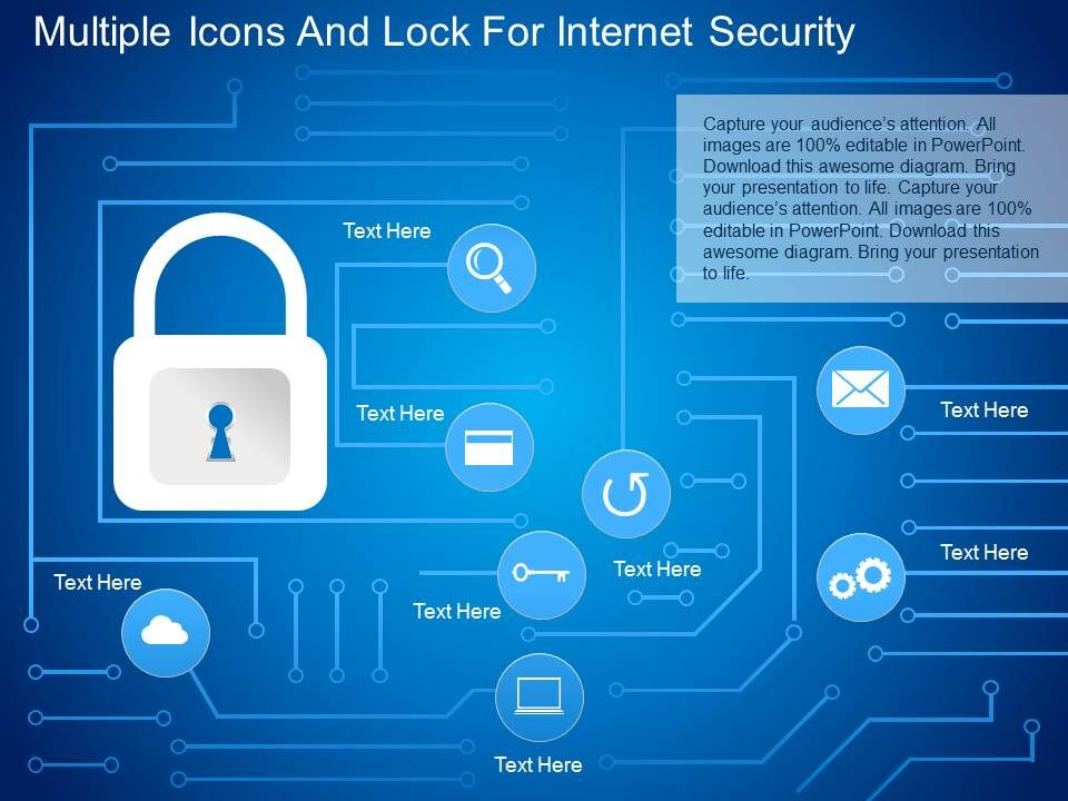 fo multiple icons and lock for internet security powerpoint, Powerpoint templates