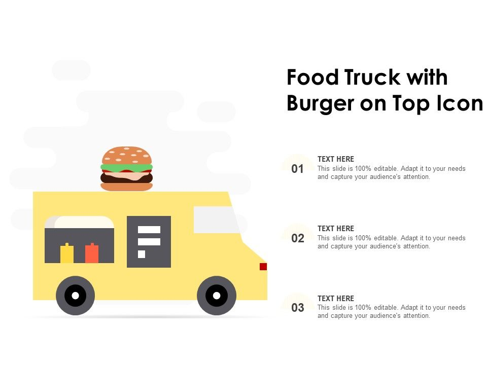 Food Truck With Burger On Top Icon Powerpoint Presentation