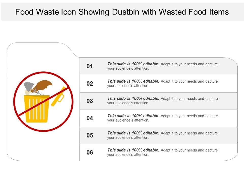 Food Waste Icon Showing Dustbin With Wasted Food Items Powerpoint