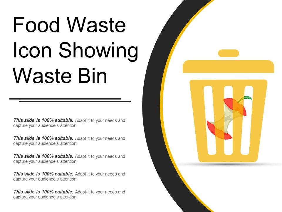 Food Waste Icon Showing Waste Bin Powerpoint Presentation