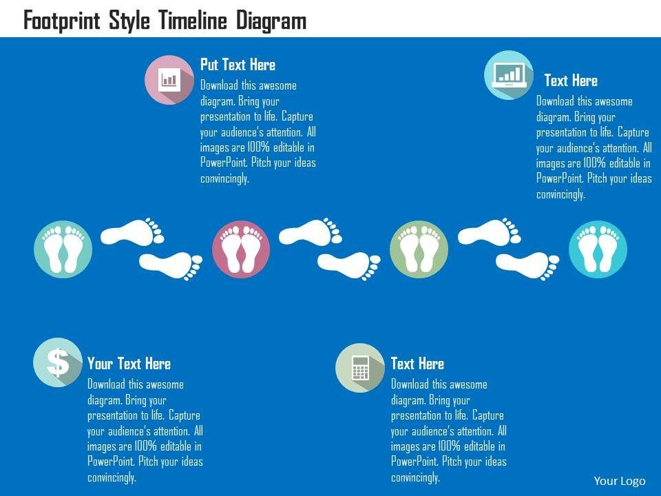 Footprint Style Timeline Diagram Flat Powerpoint Design