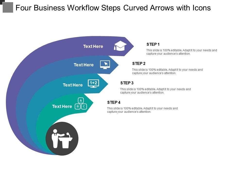 four_business_workflow_steps_curved_arrows_with_icons_Slide01