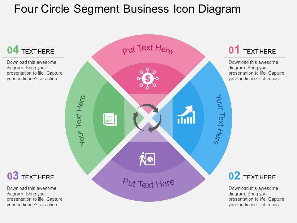 four_circle_segment_business_icon_diagram_flat_powerpoint_design_Slide01