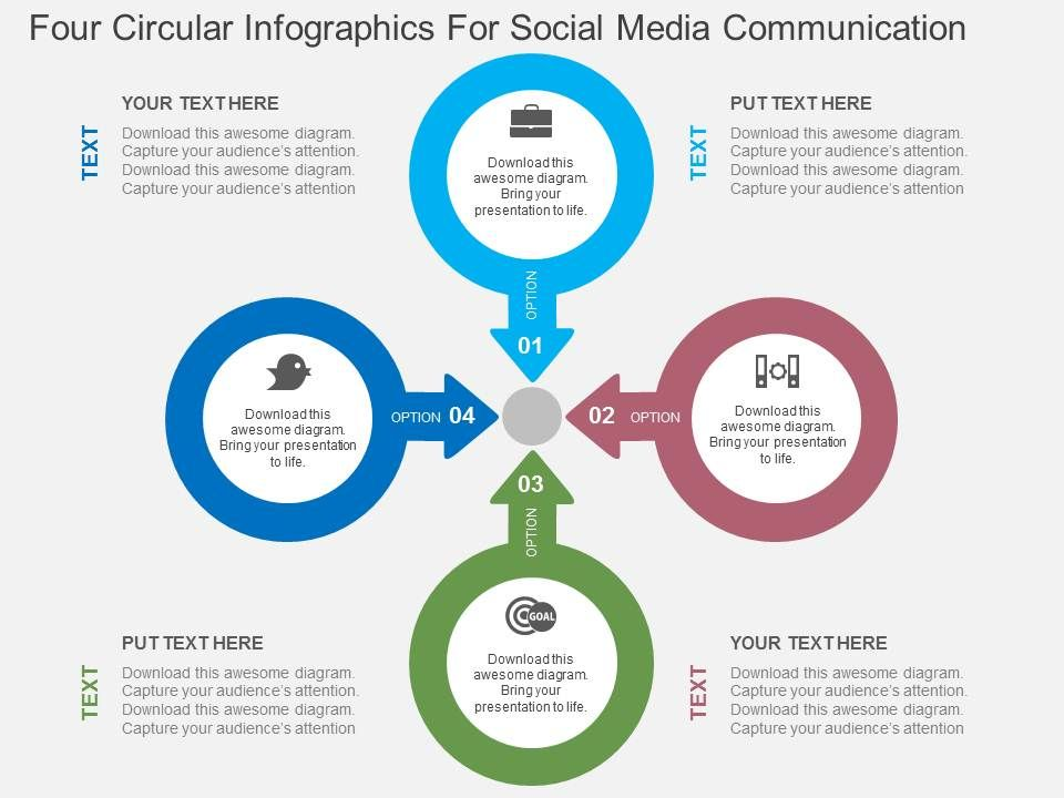 four_circular_infographics_for_social_media_communication_flat_powerpoint_design_Slide01