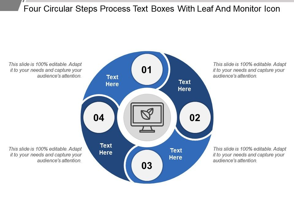 four_circular_steps_process_text_boxes_with_leaf_and_monitor_icon_Slide01