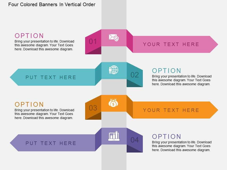 Four Colored Banners In Vertical Order Flat Powerpoint