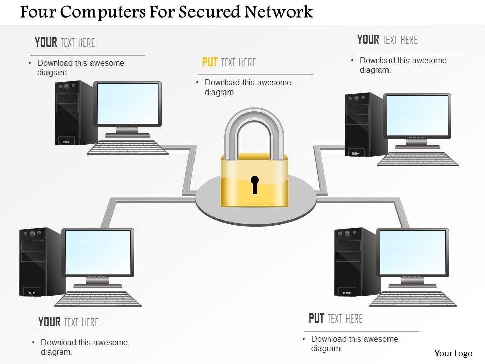 four_computers_for_secured_network_ppt_slides_Slide01