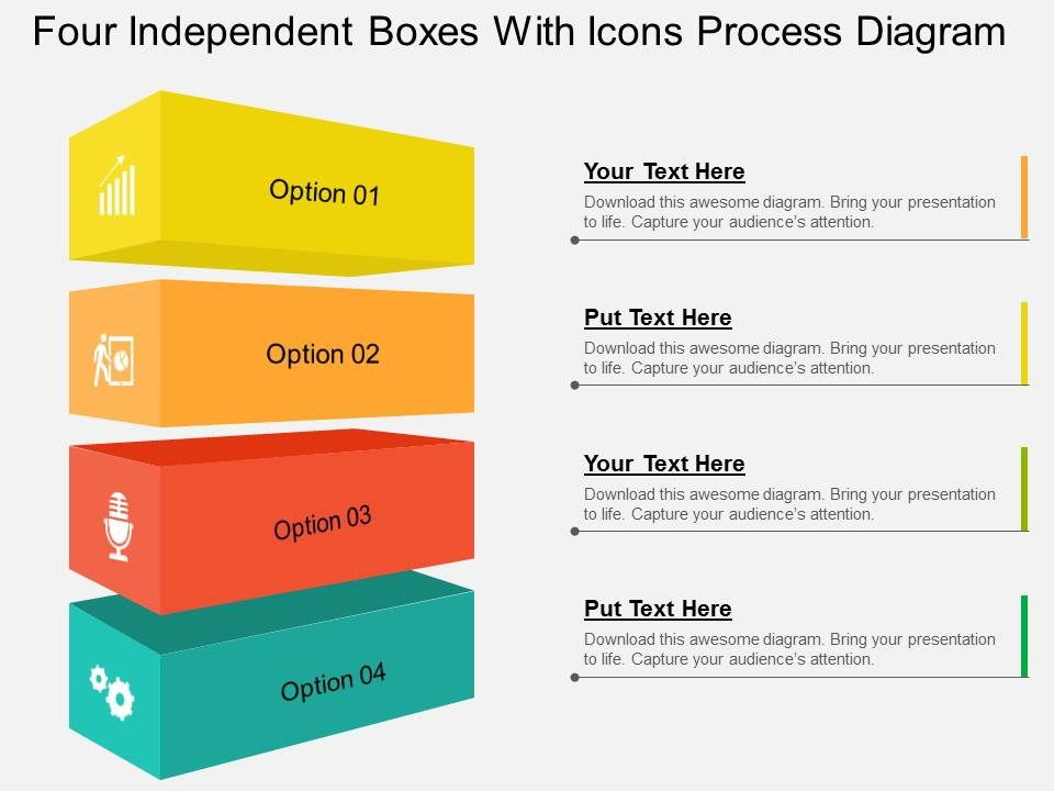 four_independent_boxes_with_icons_process_diagram_flat_powerpoint_design_Slide01