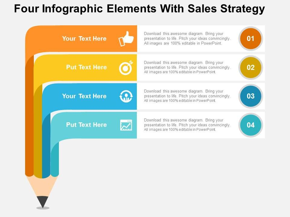 four infographic elements with sales strategy flat