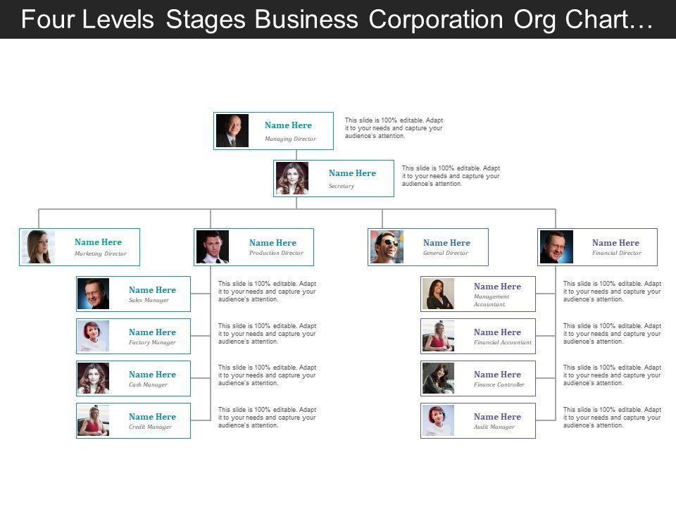 four_levels_business_corporation_org_chart_with_profile_Slide01