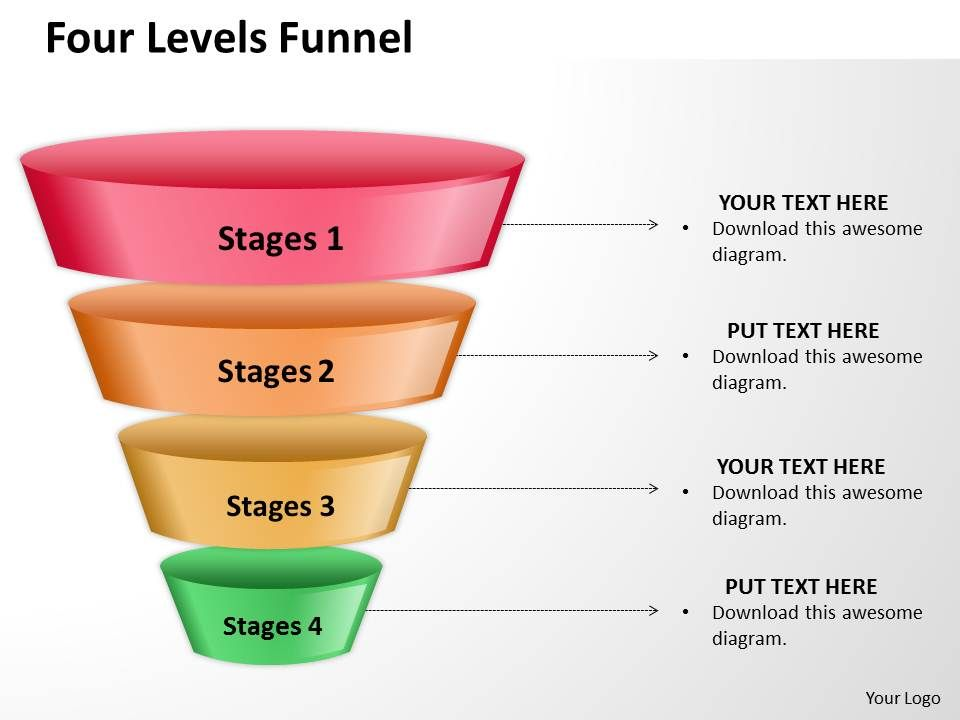 four levels of filter sales funnel split separated ppt slides, Modern powerpoint