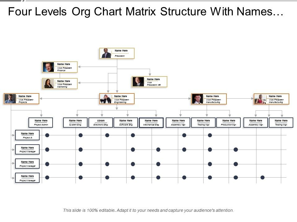 four_levels_org_chart_matrix_structure_with_names_and_profile_Slide01