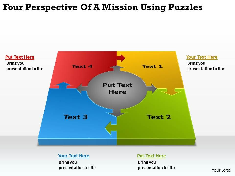 four_perspective_of_a_mission_using_puzzles_ppt_powerpoint_slides_Slide01