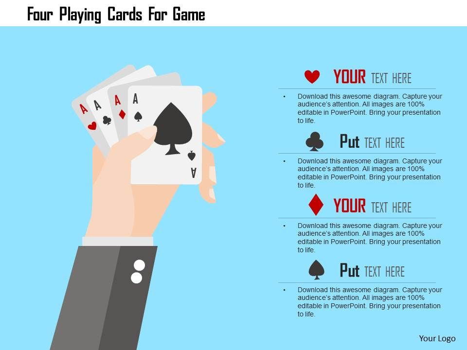 four_playing_cards_for_game_flat_powerpoint_design_Slide01