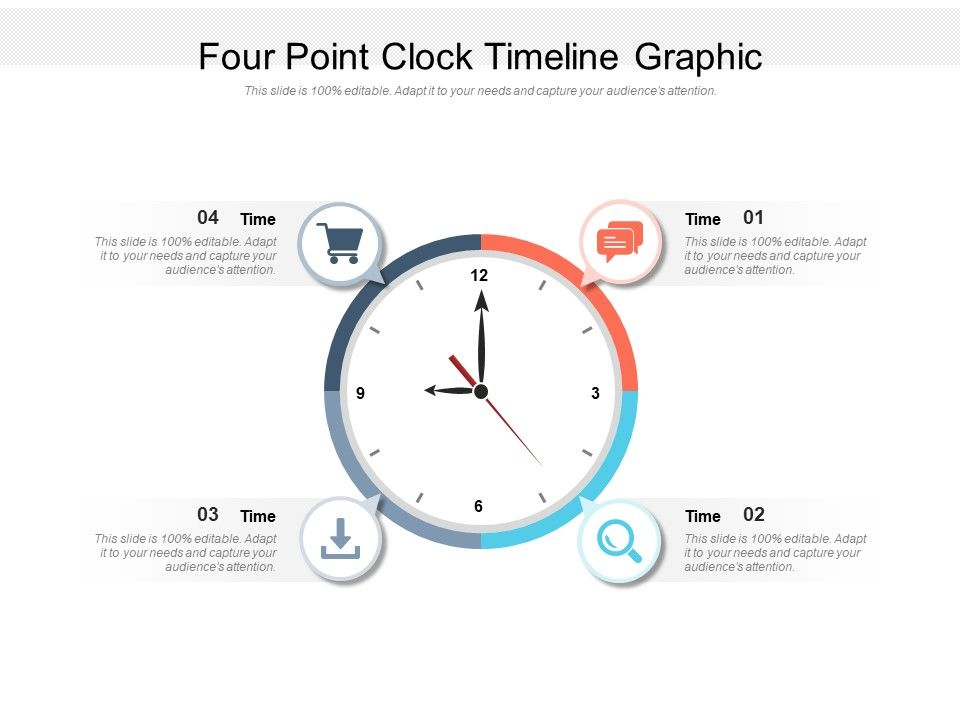 Four Point Clock Timeline Graphic