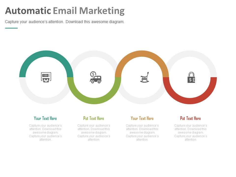 Four Staged Automatic Email Marketing Powerpoint Slides