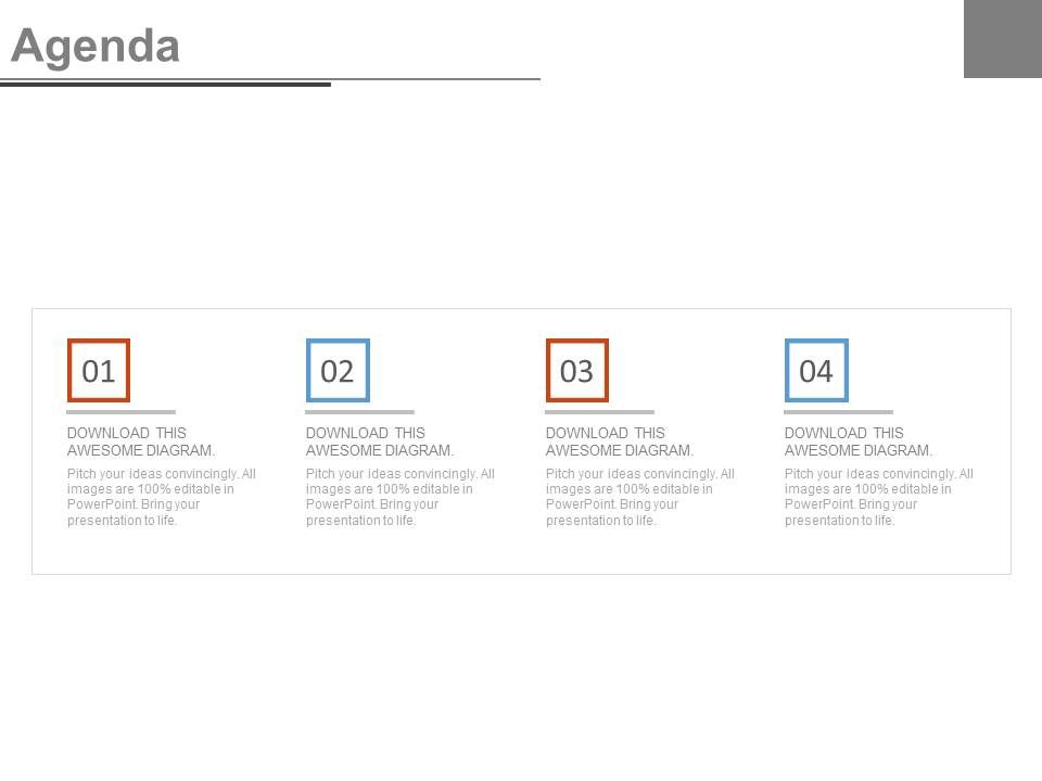four staged business agenda analysis diagram powerpoint