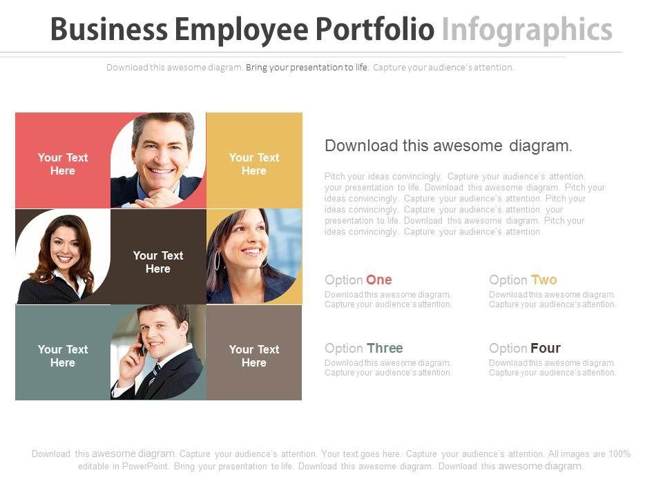 four_staged_business_employee_portfolio_infographics_flat_powerpoint_design_Slide01