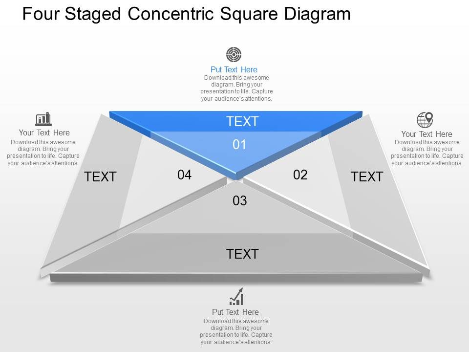 Four Staged Concentric Square Diagram Powerpoint Template ...