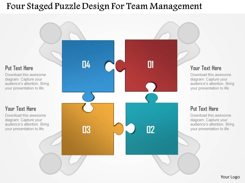 four staged puzzle design for team management powerpoint template, Powerpoint templates