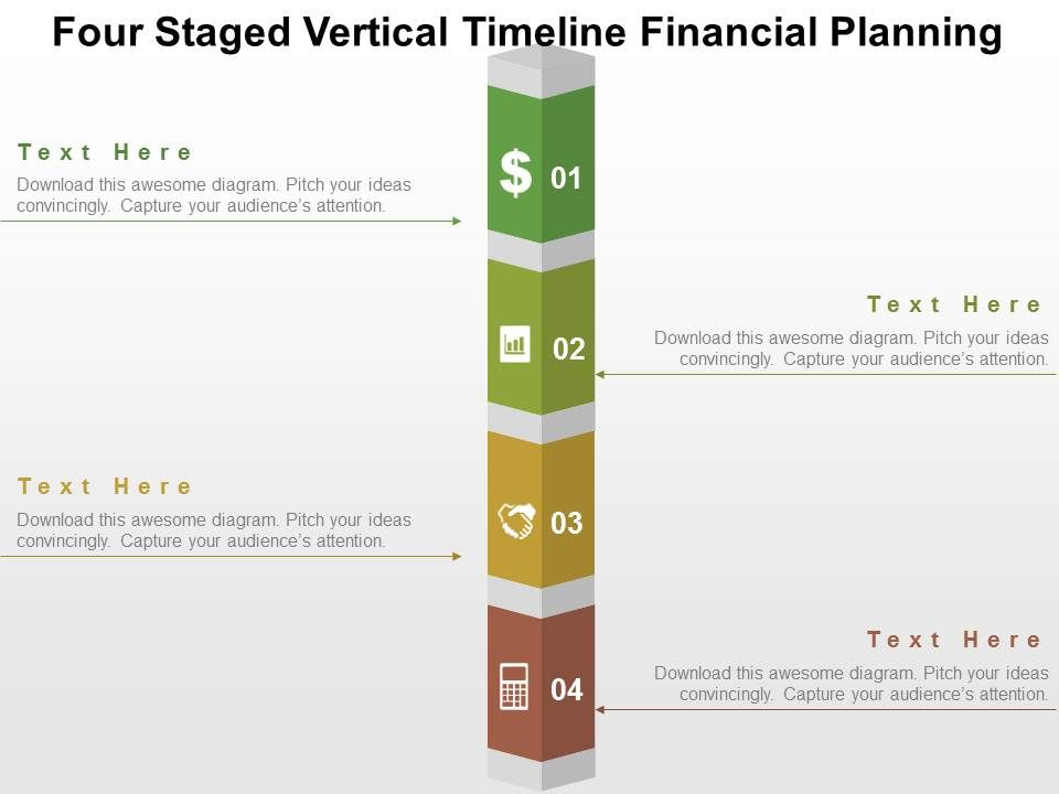 Four Staged Vertical Timeline Financial Planning Flat Point Design Slide01