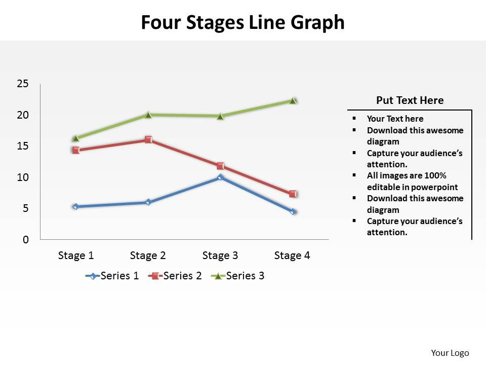 four stages line graph data driven powerpoint diagram templates