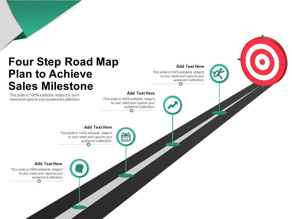 Four Step Road Map Plan To Achieve Sales Milestone